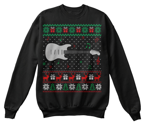 Guitar Ugly Christmas Sweater Guitarist Black T-Shirt Front