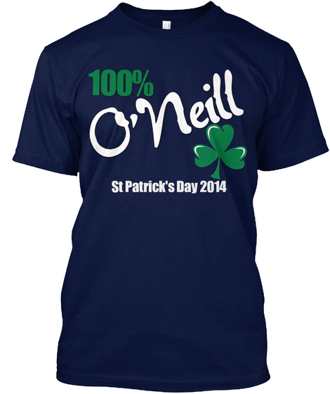 100% O'neill St Patrick's Day 2014 Navy T-Shirt Front