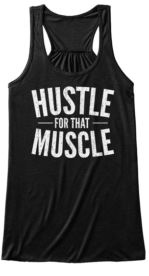 Hustle Foe That Muscle Black T-Shirt Front