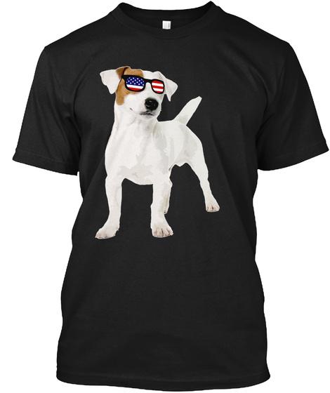Patriotic Pitbull Dog American Flag Black T-Shirt Front