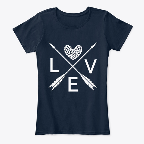 Valentines Day Heart T Shirts New Navy T-Shirt Front