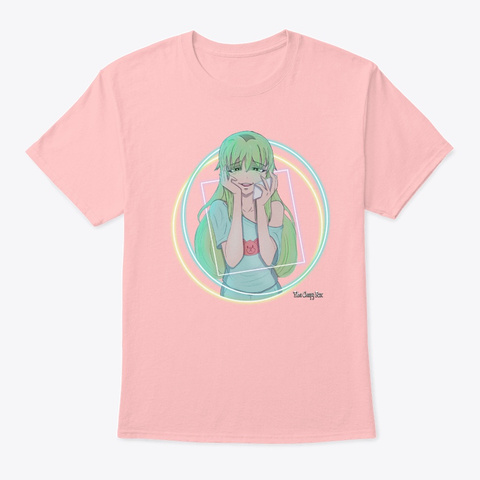 The Creepy Fox: Neon Blissful Lights Pale Pink T-Shirt Front