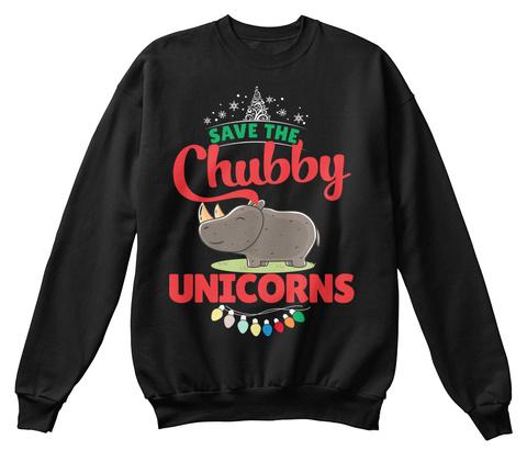 Rhinoceros  Chubby Unicorns Christmas  Black T-Shirt Front
