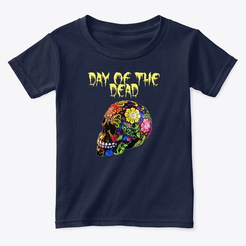 Day Of The Dead Mexican Sugar Skull  Navy  T-Shirt Front