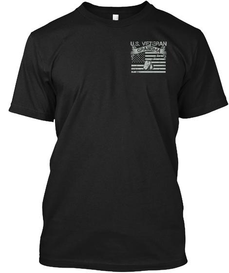 U.S. Veteran Grandma Black T-Shirt Front
