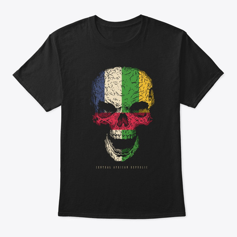 Skull Central African Republic Flag Black T-Shirt Front