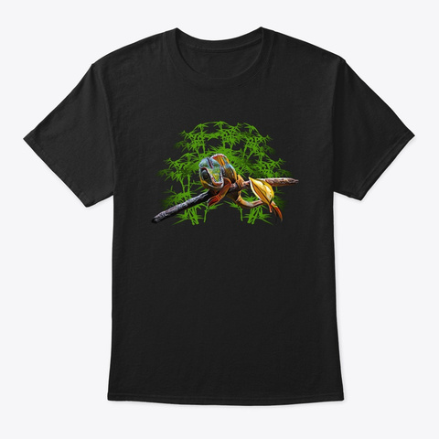 Panther Chameleon Tropical Jungle Print Black T-Shirt Front