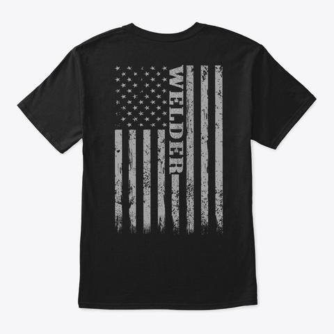 Casual Retro Style Welding T Shirt Black T-Shirt Back