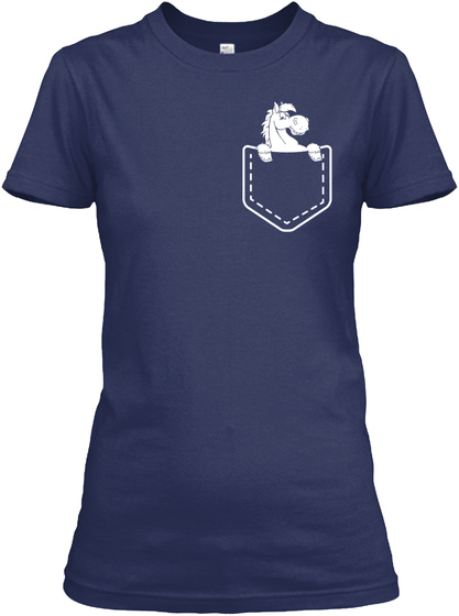Horse Shirt Pocket Navy Women's T-Shirt Front