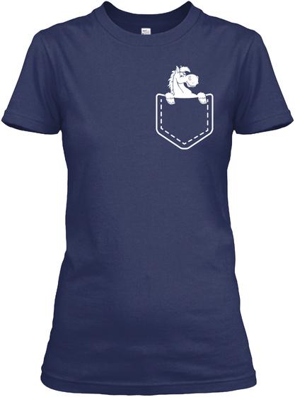 Horse Shirt Pocket Navy Vrouwen T-Shirt Front
