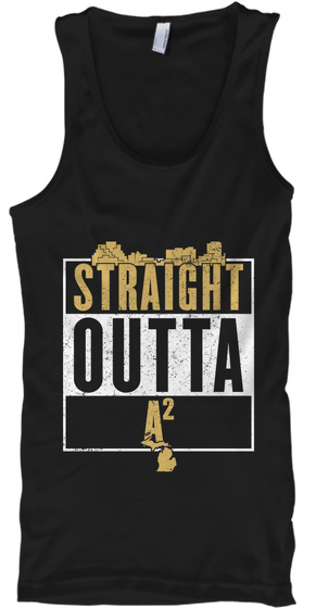 Straight Outta A2 Black Tank Top Front