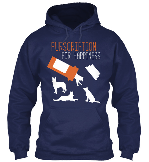 Furscription For Happiness Navy T-Shirt Front