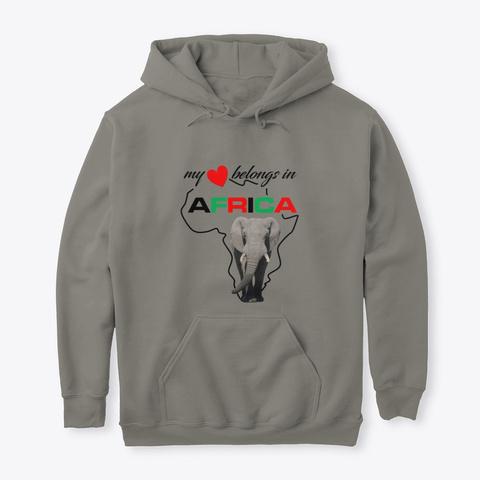 My Heart Belongs In Africa   Elephant Charcoal T-Shirt Front