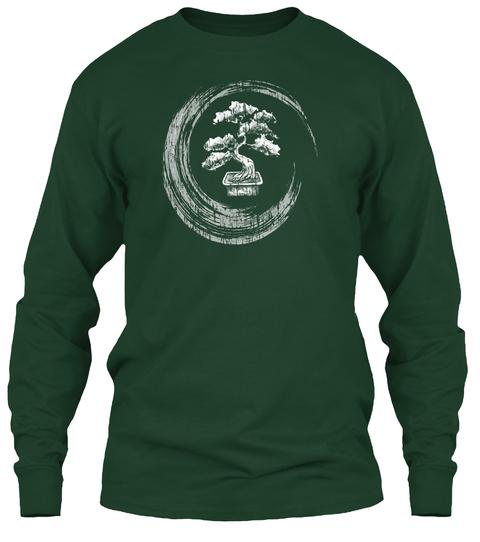 Bonsai Tree Enso Circle T Shirt Vintage Zen Calligraphy Art Forest Green T-Shirt Front