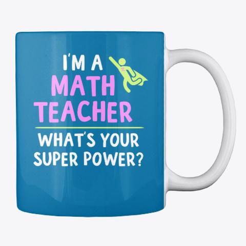 Super Math Teacher Mugs And Totes Royal Blue T-Shirt Back