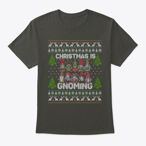 Christmas Gnoming Gnome Ugly Christmas Smoke Gray T-Shirt Front