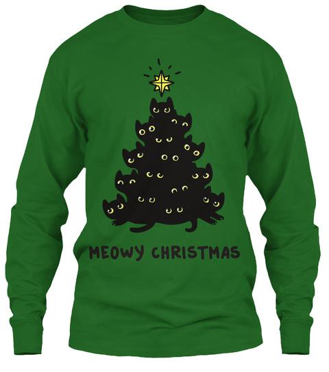 Meowy Christmas Irish Green T-Shirt Front