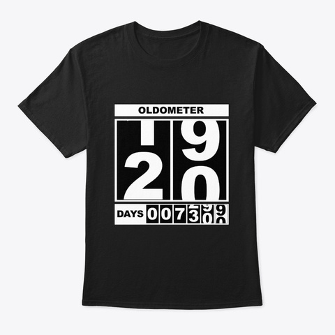20th Birthday Oldometer Black T-Shirt Front
