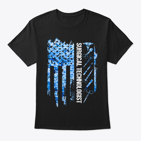 Surgical Technology Gift Us Flag Pattern Black T-Shirt Front