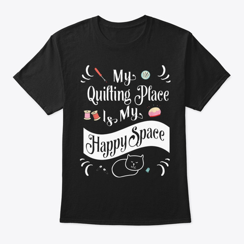Quilting Space Cat Drawing Black T-Shirt Front