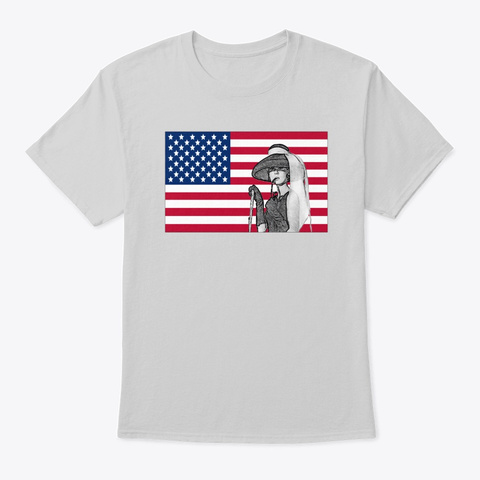 4th Of July American Flag Hepburn Light Steel T-Shirt Front