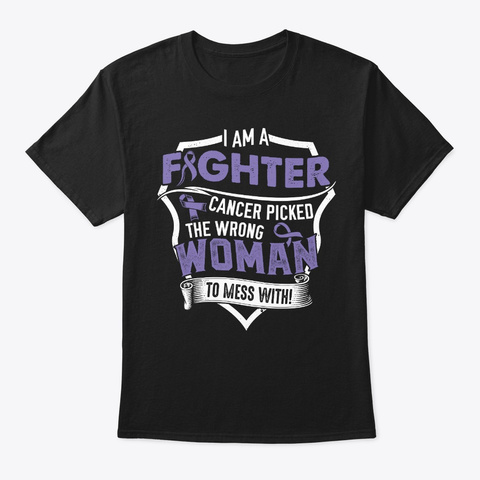 I Am A Fighter | Hodgkins Lymphoma Black T-Shirt Front