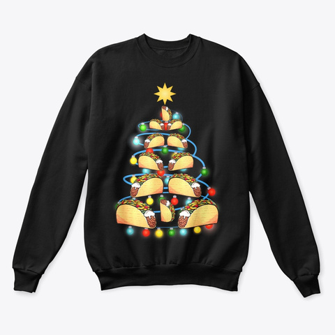 Santa Taco Christmas Tree Lights Black T-Shirt Front