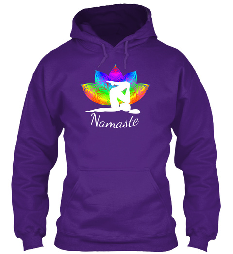 Hoodie Yoga Pose Mandala Pedals Retro Purple T-Shirt Front