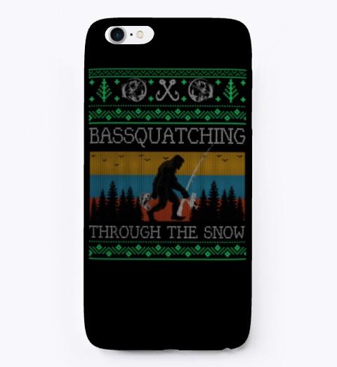 Bigfoot Bass Fishing Christmas Sweater Black T-Shirt Front