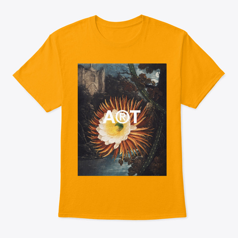 Cereus Still Life Vintage Flowers  Gold T-Shirt Front