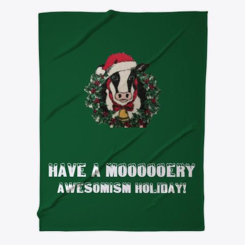 Holiday Cow Blanket And Mug Dark Green T-Shirt Front