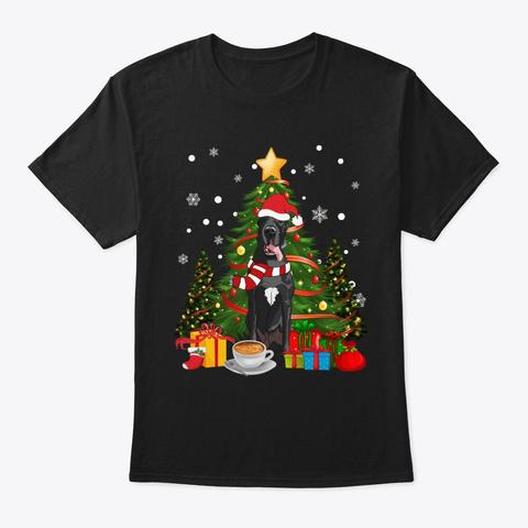 Great Dane Christmas Coffee Black T-Shirt Front