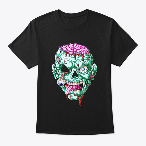 Zombie Face Brain Funny Halloween Gifts Black T-Shirt Front