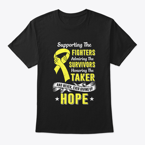 Supporting Fighters Childhood Cancer Black T-Shirt Front