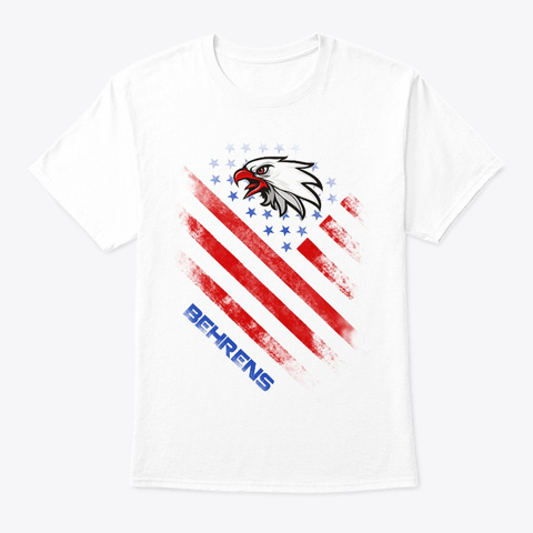 Behrens Name Tee In U.S. Flag Style White T-Shirt Front