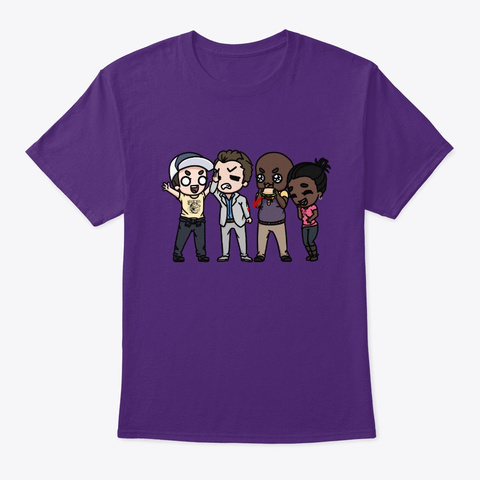 L4 D2 Survivors Chibis By Cheetah! Purple T-Shirt Front