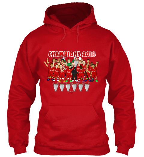 Liverpool 6 Times Hoodie   By 442oons Red Hot Chilli T-Shirt Front
