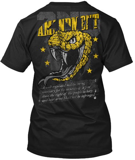 2nd Amendment Snake Black T-Shirt Back