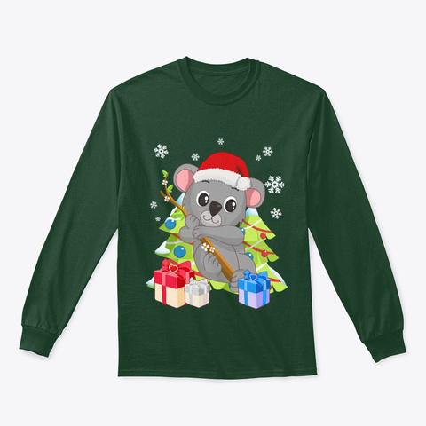 Santa Climbing Koala Bear Christmas Forest Green T-Shirt Front
