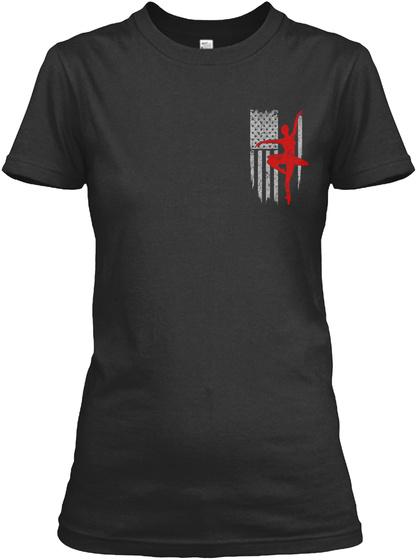 Ballet   Usa Flag Black T-Shirt Front