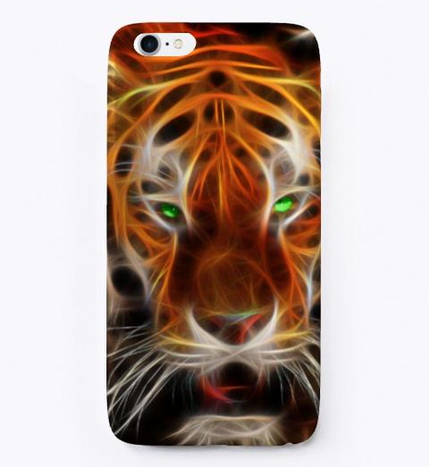 Tiger Iphone Case Black T-Shirt Front