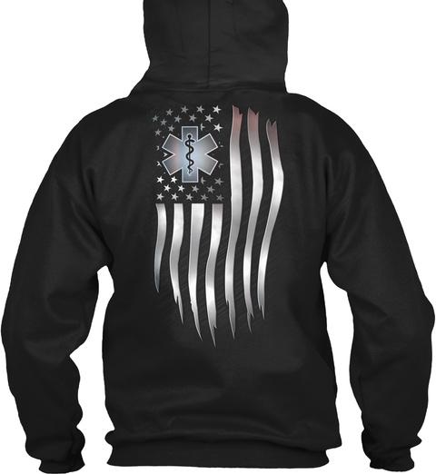 Emt Usa Flag Black T-Shirt Back