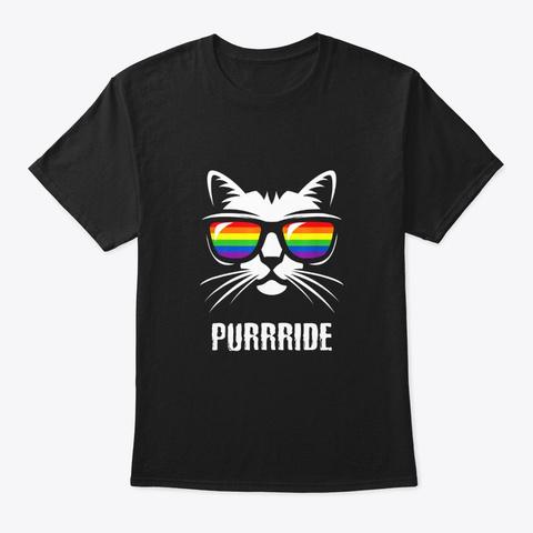 Funny Lgbt Gay Lesbian Pride Flag Cat Black T-Shirt Front