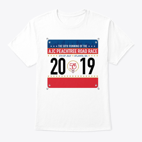 Peachtree Road Race 2019 T Shirt White T-Shirt Front