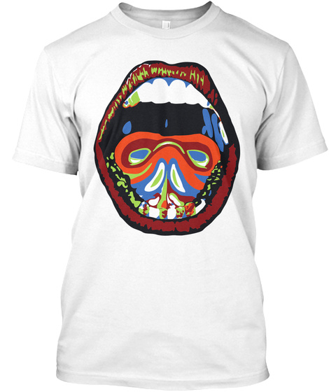 Mouth Painting White áo T-Shirt Front
