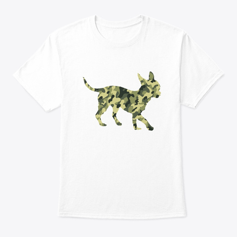 Military Chihuahua Camo Men Veteran Tee White T-Shirt Front