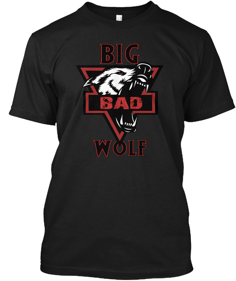 Big Bad Wolf H Oodie And T Shirt  Black T-Shirt Front