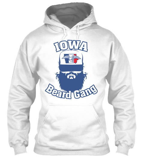 Iowa Beard Gang White T-Shirt Front