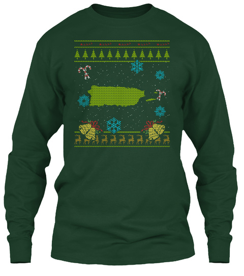 Puerto Rico Christmas Ugly Shirt Forest Green T-Shirt Front