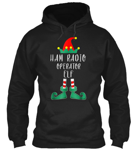 Ham Radio Operator Elf Costume Christmas Black T-Shirt Front